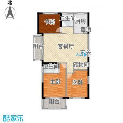 宇龙・湖畔花园141.48㎡二期C1户型3室3厅2卫1厨