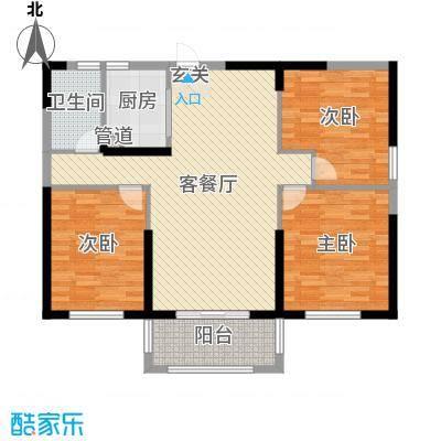 宇龙・湖畔花园116.03㎡二期D2户型3室3厅1卫1厨