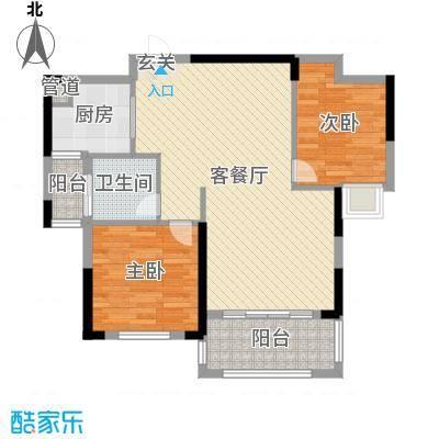 宇龙・湖畔花园87.40㎡二期C2户型2室2厅1卫1厨