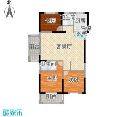 宇龙・湖畔花园139.20㎡二期D1户型3室3厅2卫1厨