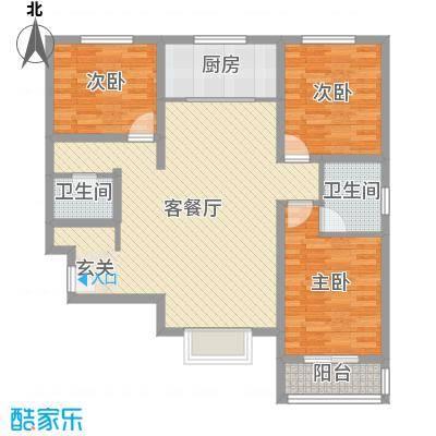 中央・名都118.00㎡E1户型3室3厅2卫1厨