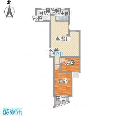 运河明珠75.00㎡-D户型2室2厅1卫1厨