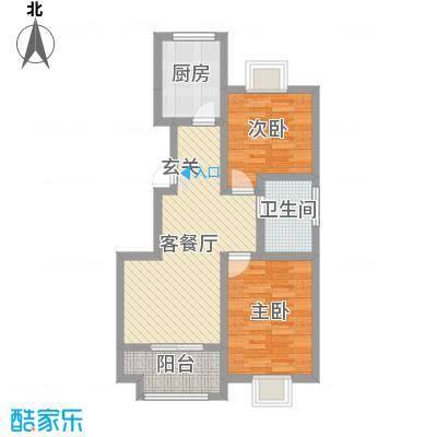 磁山温泉小镇86.38㎡17#、18#B户型2室2厅1卫1厨