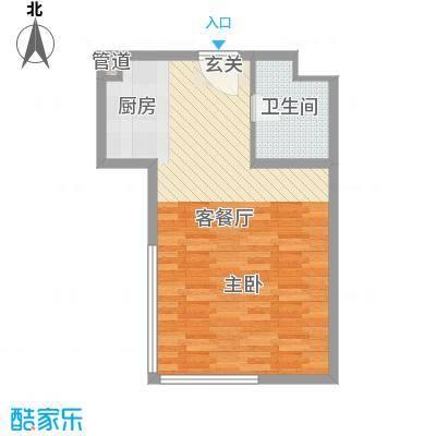湖港名城52.04㎡8#楼标准层户型1室1厅1卫1厨