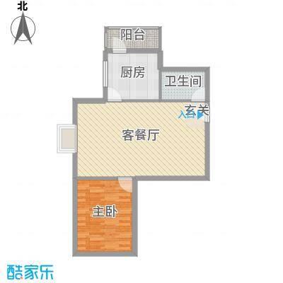 滨东花园二期77.06㎡户型1室1厅1卫1厨