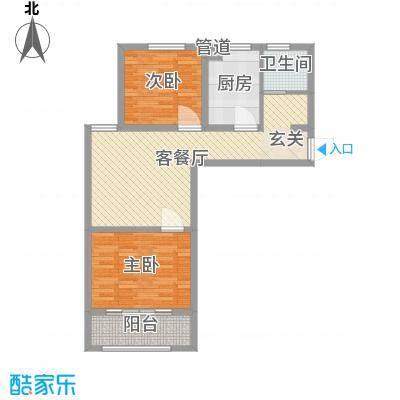金润城81.79㎡1号2号楼A户型2室2厅1卫1厨