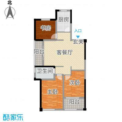 青枫国际126.00㎡7#标准层B户型3室3厅1卫1厨