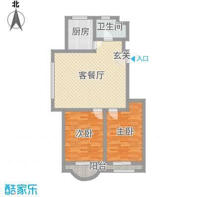 美地庄园78.35㎡馨城小高户型2室2厅1卫1厨