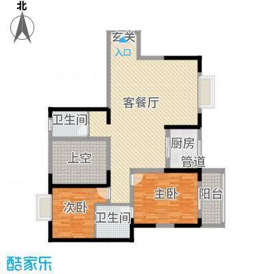 华韵城市海岸二期126.00㎡3栋b1户型2室2厅2卫1厨