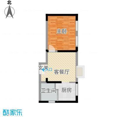 �Z湖国际55.00㎡一期1-5幢标准层A户型1室1厅1卫1厨