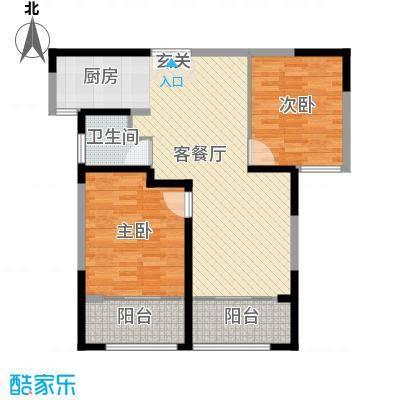 �Z湖国际99.00㎡一期1-5幢标准层D户型2室2厅1卫1厨
