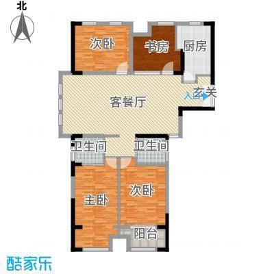 �Z湖国际168.00㎡一期1-5幢标准层C户型4室4厅2卫1厨