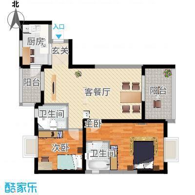 上东风景二期623.16㎡6-2户型2室2厅2卫1厨-副本