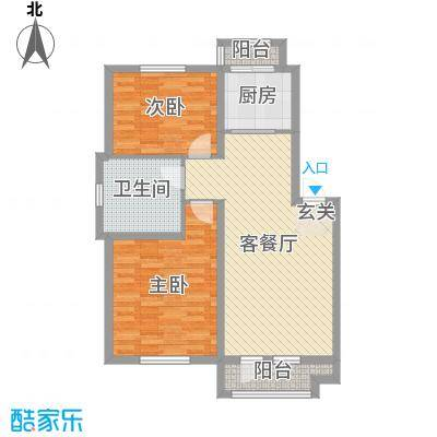 天洁・华尔街广场89.00㎡D3户型2室2厅1卫1厨