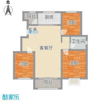 银丰唐郡・牡丹园117.00㎡23#25#27#楼E户型3室3厅1卫1厨