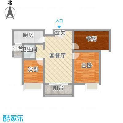 爱琴海91.59㎡10号楼s户型3室3厅1卫