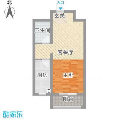 新世纪花园49.59㎡8#标准层D-4户型1室1厅1卫1厨
