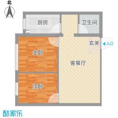 新世纪花园63.13㎡8#标准层D-2户型2室2厅1卫1厨