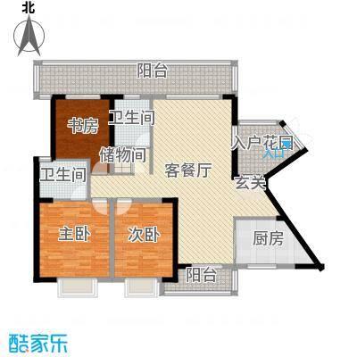 华韵城市海岸二期136.00㎡4栋B单元1号户型3室3厅2卫