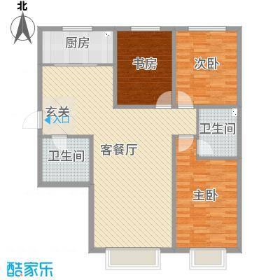 瀚城国际二期128.00㎡H-3户型3室3厅2卫1厨