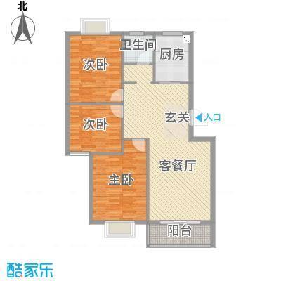凤华名邸108.00㎡二期G户型3室3厅1卫1厨