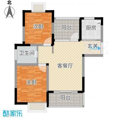 惠泽云锦城89.00㎡二期6#楼标准层A1户型2室2厅1卫1厨