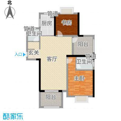 中奥珑郡121.00㎡二期4-5#楼标准层C户型3室3厅1卫1厨