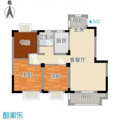 中南世纪城98.00㎡17号楼A户型3室3厅1卫1厨