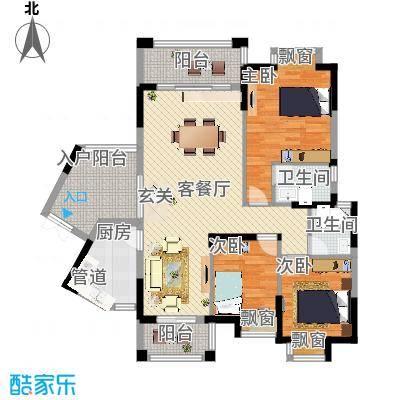 龙光海悦城邦118.86㎡2栋1单元E1户型3室2厅2卫1厨-副本