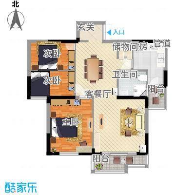 天鹅湖畔116.00㎡天鹅湖畔户型图B户型两室两厅116㎡2室2厅1卫1厨户型2室2厅1卫1厨-副本