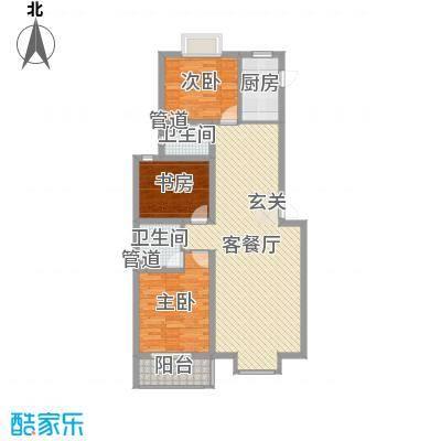 东上・水漾佳苑10号楼A户型 3室2厅2卫1厨 123.53㎡-副本