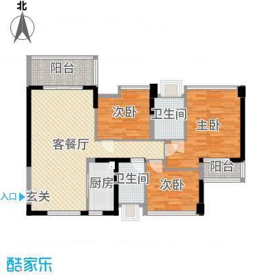 南枫禅墅107.00㎡C2户型3室3厅2卫1厨