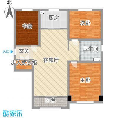 迁安碧桂园117.00㎡6#洋房标准层YJ105A户型3室3厅1卫1厨