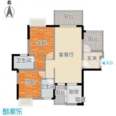 富盈公馆98.82㎡5/8栋B户型2室2厅2卫1厨