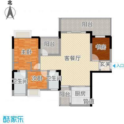 富盈公馆118.66㎡5/8栋E户型3室3厅2卫1厨