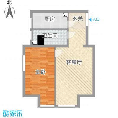 K2・京南狮子城65.00㎡E户型1室1厅1卫1厨