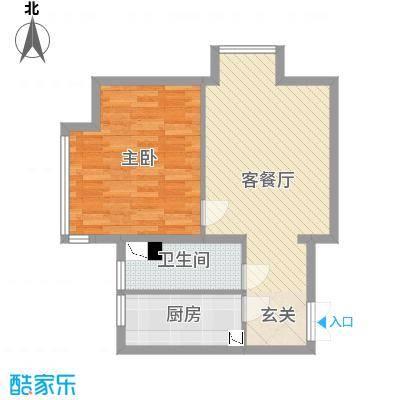 K2・京南狮子城65.00㎡A户型1室1厅1卫1厨