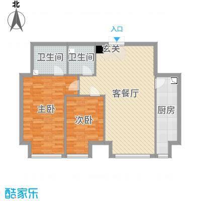 K2・京南狮子城98.00㎡G户型2室2厅2卫1厨