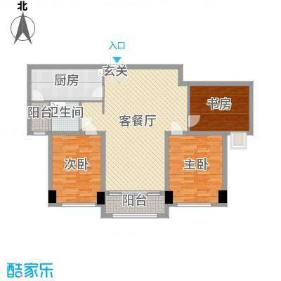 迁安碧桂园108.00㎡6#洋房标准层YJ105B户型3室3厅1卫1厨