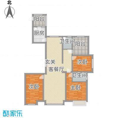 恒茂国际都会166.33㎡6号楼标准层E户型3室3厅2卫1厨