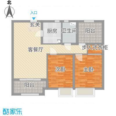 恒茂国际都会102.00㎡7号楼标准层G户型2室2厅1卫1厨