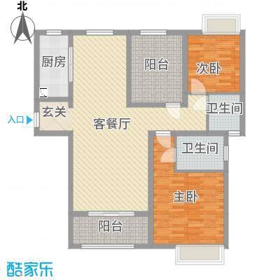 恒茂国际都会130.00㎡7号楼标准层J户型2室2厅1卫1厨
