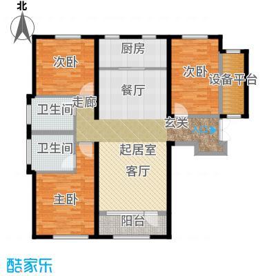 中国塘136.00㎡D1户型3室2厅2卫-副本