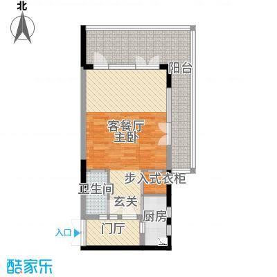 御泉庄64.24㎡1栋B-1户型1室1厅1卫1厨