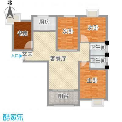 御景龙湾132.00㎡小高层16号楼东户M户型4室4厅2卫1厨
