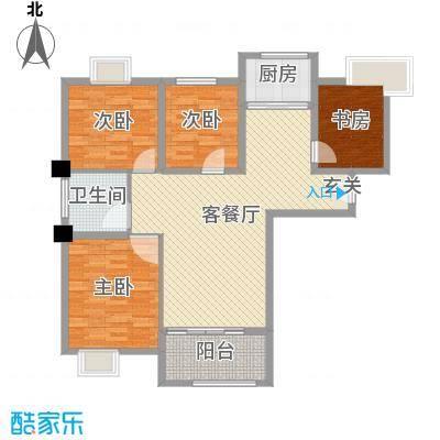 御景龙湾116.00㎡小高层9#16#号楼中间户D户型4室4厅1卫1厨