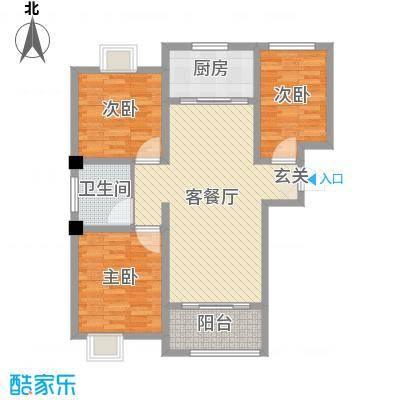 御景龙湾98.00㎡小高层4#5#号楼A户型3室3厅1卫1厨