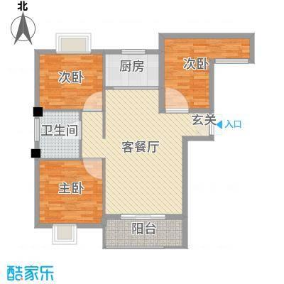御景龙湾95.00㎡小高层16号楼西户G户型3室3厅1卫