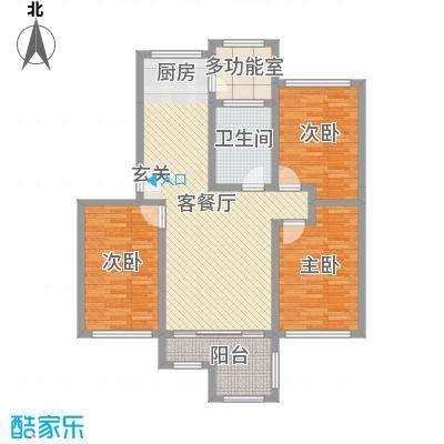 欧美世纪花园110.00㎡31#标准层B户型3室3厅1卫