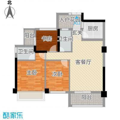 汇龙万宝国际城93.20㎡D2、3栋户型3室3厅2卫1厨